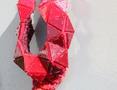 CHI CHING LAI TAIWAN-Necklace: Triangular Necklace (Red) 2013Perspex, Textile, Yarns, Magnet and StringsW12 X H25 X D5 cmPhoto by Yen-An Chen