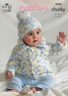 Baby Knitting Patterns Chunky Knitting Pattern Baby Child 3045 King Cole Chunky Comfort in new by Bobbi… Baby Cardigan Knitting Pattern Free, Baby Boy Knitting Patterns, Baby Hats Knitting, Baby Patterns, Knitted Hats, King Cole, Crochet Bebe, Baby Sweaters, Sweater Jacket
