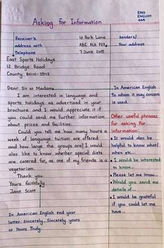English Letter Writing, Formal Letter Writing, English Grammar Notes, Teaching English Grammar, English Grammar Worksheets, English Sentences, Grammar And Vocabulary, English Vocabulary Words, English Language Learning
