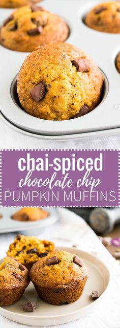 These moist and flavorful Chai-spiced Pumpkin Chocolate Chip Muffins are the perfect way to start your day! With just the right amount of warming chai spices, these muffins are sure to be a crowd-pleaser!