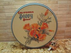 Vintage California Poppy Brand Round Tin - Great Vintage Condition!! California Poppy, Vintage California, Tin Boxes, Tins, Poppies, Conditioner, Unique Jewelry, Handmade Gifts, Collection