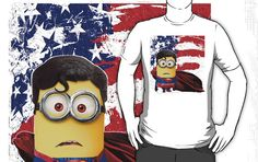 Funny Cute Superman man of steel  Despicable me minion T-Shirt man, woman and kids