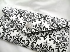 Envelope Clutch Evening Bag Purse Weddings Bride Bridesmaid Black and White MADISON Damask with Clear Crystal