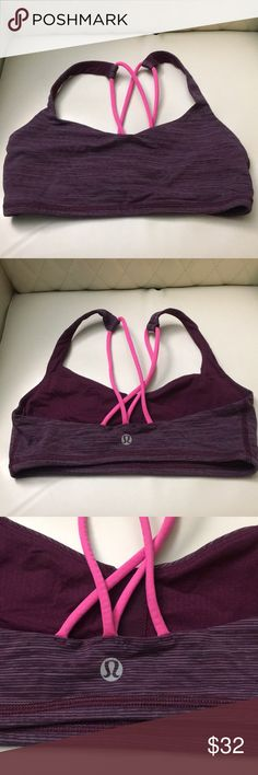 💜Lululemon Free to Be sports bra💜 EUC LULULEMON FREE TO BE SPORTS BRA. PURPLE & PINK ULTRA FINE STRIPED PATTERN WITH PINK STAPS ON THE BACK. EXCELLENT PREOWNED CONDITION Fits B/C cup very good support The size dot has been removed. Gentle hand wash cycle and lined dried. Size 2 lululemon athletica Intimates & Sleepwear Bras