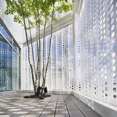 Perforated metal screen - Company Building in Kanagawa / HMAA Screen Design, Facade Design, Design Design, Interior Design, Interior Decorating, Design Ideas, Metal Shop Building, Building A House, Building Exterior