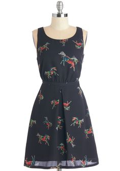 Collect Your Trots Dress. Your brain bustles with outfit inspiration upon catching sight of this horse-printed dress! Retro Vintage Dresses, Vintage Outfits, Vintage Clothing, Pretty Outfits, Cute Outfits, Pretty Clothes, Mod Dress, Up Girl, Lovely Dresses