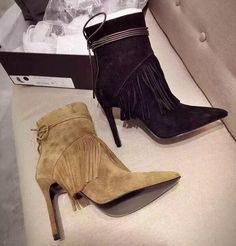 89.99$  Buy now - http://ali2e5.worldwells.pw/go.php?t=32773548076 - Newest Fashion Women shoes Hot Sale Tassels Pointed Toe High-Heeled Boots Autumn Winter Black Brown Suede Leather Lace-up