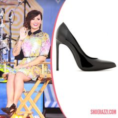 a7a94a6ee17f Demi Lovato in Saint Laurent  Paris  Black Patent Leather Pumps was spotted  on the Set of  Good Morning America  during the 2012 Summer Concert Series