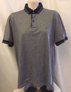 Tommy Hilfiger Mens Gray Short Sleeve Polo Shirt Size L Custom Fit 100% Cotton #TommyHilfiger #PoloRugby