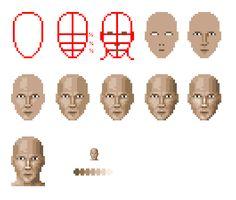 Pixel Face Tutorial by Zanaril on DeviantArt Piskel Art, Pix Art, Sprites, 8 Bits, Pixel Animation, Anime Pixel Art, Pixel Art Games, Pixel Design, Animation Tutorial