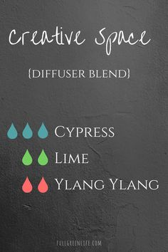 Creative Space Diffuser Blend | Full Green Life | Get your creativity going with this diffuser blend! Perfect for bloggers, writers, artists, crafters, or anyone who has a creative outlet!