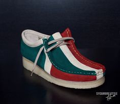 "Image of Money Green/Natural Sand/Red ""Gucci"" Sycamore Style Custom Dyed Wallabee Clarks Shoe"