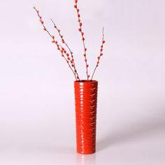 Adeco Decorative 14-inch Red Horizontal Wave Wood Vase