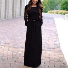 1Pc Long Dress Round Collar Long-sleeved Pocket Long Dress Charming Women Solid Color Waist Slim Dress #33108