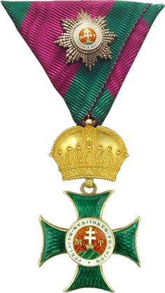 Saint Stephen Order, Grand Cross 'kleinen Dekoration' badge, on ribbon a miniature Grand Cross breast star.