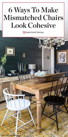 These interior designer-approved tips will help you style mismatched dining chairs, so the look is curated and collected. #diningrooms #diningroomtrends #diningroomideas #diningtable #chairs #diningchairs #designtrends #eclecticdecor Mismatched Dining Room, Mismatched Furniture, Outdoor Dining Chairs, Dining Furniture, Table And Chairs, Dining Area, Kitchen Chairs, Room Chairs, Kitchen Dining