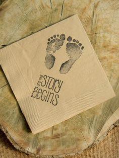 The Story Begins Baby Shower Footprints Light Burlap Cocktail Napkins Gender Neutral Baby Girl or Baby Boy- Set of 50