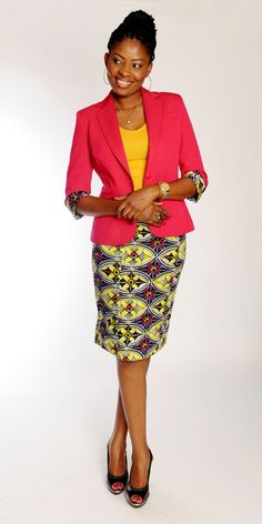 ankara inspired workwear ~African fashion, Ankara, kitenge, African women dresses, African prints, Braids, Nigerian wedding, Ghanaian fashion, African wedding ~DKK