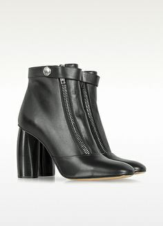 Marc Jacobs Black Double-Zip Leather Ankle Boot