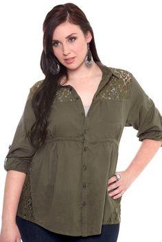 Best Plus Size Clothing | Trend Fashion Torrid Plus Size Olive Crochet Insert Top