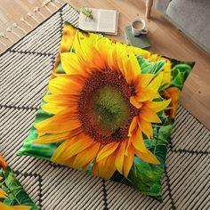 'yellow flower blooming sunflower' Floor Pillow by Rostislav Bouda Blooming Sunflower, Floor Pillows, Throw Pillows, Free Stickers, Pillow Design, Yellow Flowers, Pillow Covers, Vibrant, Flooring