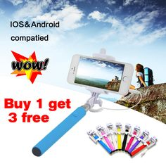 Wired Selfie Stick Handheld Monopod Built-in Shutter Extendable + Mount Holder For iPhone Samsung Smartphone Any Phones Camera | Price: US $3.89 | http://www.bestali.com/goto/32254755762/10