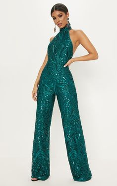 74ef91d41384 Emerald Green Sequin High Neck Jumpsuit