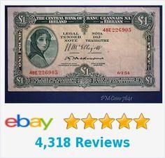1954 Irish One pound £1 Central Bank of Ireland banknote Lady Lavery *[7641] | eBay http://www.ebay.co.uk/itm/1954-Irish-One-pound-1-Central-Bank-Ireland-banknote-Lady-Lavery-7641-/401222514190?hash=item5d6ab9b60e