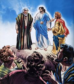 "Matthew - ""And was transfigured before them: and his face did shine as the sun, and his raiment was white as the light. And, behold, there appeared unto them Moses and Elias talking with him. Matthew 17, Comic Pictures, Jesus Christ, Bible, Sun, Comics, Painting, Biblia, Painting Art"