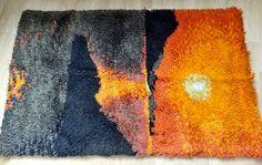 Vintage 60s wool shaggy rya rug carpet eames by Midcentury4U, $89.00