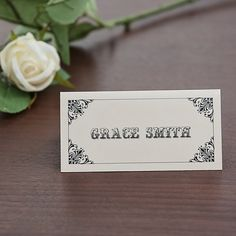 Sarah Alexis Stationery: Vintage Script Place Card in Black and Cream