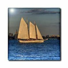 """3 masted sail boat, nyc - 12 Inch Ceramic Tile by 3dRose. $22.99. Image applied to the top surface. Clean with mild detergent. High gloss finish. Dimensions: 12"""" H x 12"""" W x 1/4"""" D. Construction grade. Floor installation not recommended.. 3 masted sail boat, nyc Tile is great for a backsplash, countertop or as an accent. This commercial quality construction grade tile has a high gloss finish. The image is applied to the top surface and can be cleaned with a mild detergent."""