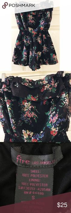 Fire Los Angeles • Floral Romper Fire Los Angeles • Floral Romper. Beautiful black and floral chiffon. Ruffle top and Strapless. Hardly ever worn! Size small. Fire Los Angeles Shorts