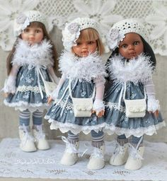Crochet Doll Clothes, Girl Doll Clothes, Doll Clothes Patterns, Doll Patterns, Knitted Romper, Knitted Dolls, Beautiful Crochet, Beautiful Dolls, Doll Fancy Dress