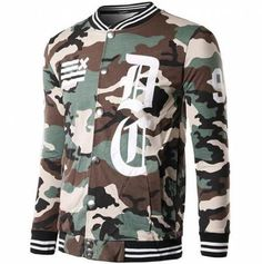 Hip hop camo baseball jacket for men long sleeve baseball uniforms