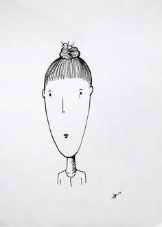 Ann-Kathrin Nikolov: Frau Pfiff. #Tusche auf 150g/m² #Hahnemühle #Dutt #Haarknoten #Vogelnest #Freunde  #Portrait #Karikatur  #Nikolov #AnnKathrinNikolov #drawing #edding #startyourart www.startyourart.de