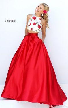 2016 Sherri Hill 50232 Two Piece Satin Stylish Prom Gown Sale