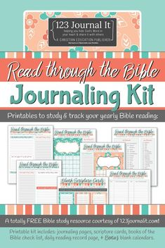 123 Journal It free printable PDF pack to download for Read Through the Bible journaling Bible Study Notebook, Bible Study Journal, Prayer Journals, Journal Prompts, Journal Ideas, Free Bible Study, Bible Study Tools, Bible Art, Bible Journaling For Beginners