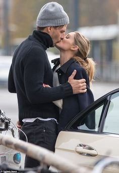 Saying goodbye: Olivia Palermo, 30, and model husband Johannes Huebl, 38, shared a romantic kiss while at the SOHO House Berlin in Germany