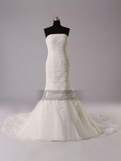 ランディブライダル ウェディングドレス マーメイド ビスチェ オーガンジー アイボリー ギャザー シンプルなデザイン チュール H5lbld1214
