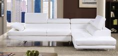 GB6553WH - Konrad Bonded Leather White Finish Sectional Sofa - Furniture2Go | Mother-of-the-Bridezillau0027s | Pinterest | Bonded leather Sectional sofa and ... : bobs luna sectional - Sectionals, Sofas & Couches