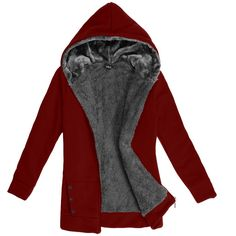 2016 Autumn Winter Women Winter Warm Fleece Cotton Zip Up Hoodies Coat Sweatshirt Jacket Hoody Outerwear Plus Size M-XXL 58 - Alternative Measures - Wine Red / L - 1