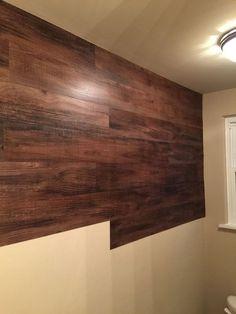 faux wood wall, bathroom ideas, diy, wall decor