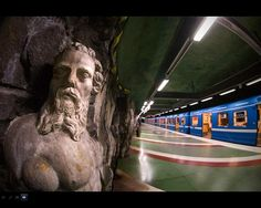 A statue inside the Stockholm Metro System.