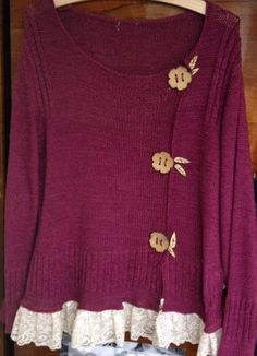 Upcycled sweater with lace & off-centered flower buttons