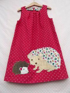 Girls Mini Boden Cord Pinafore Dress age 6-7 years. Autumn Hedgehog applique Animal Appliqué Dress Raspberry Red Cord Hedgehog Mini Boden 33389