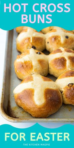 Dense, slightly sweet, spicy, and packed full of currants or raisins, hot cross buns are a much-loved treat of Easter and springtime. Cross Buns Recipe, Bun Recipe, Rolls Recipe, Hot Cross Buns, Easter Recipes, Easy Holiday Recipes, Breakfast Bites, Yeast Bread, Magpie