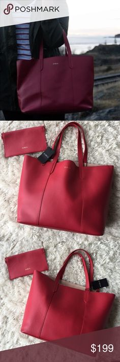 "NWT Furla Tote This tote is a beautiful red leather. Inside is a bright beige. This is NWT and comes with an envelope clutch. 17"" L, 11"" H, 5"" D and 8"" Strap Drop. Bundle for a discount! Furla Bags"