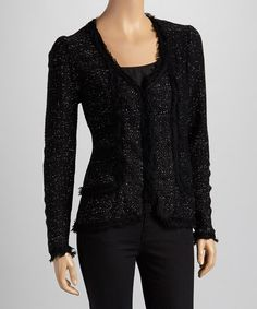 Take a look at this Black Fringe Blazer - Women by Avalin on #zulily today!