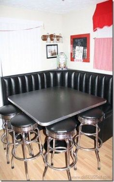 Kitchen Diner Corner Booth, CD Jukebox, red awning, chalk board menu, retro bar stools - YES John will make this happen for me! Kitchen Corner Booth, Kitchen Booths, Kitchen Banquette, Kitchen Cabinetry, Kitchen Seating, Booth Dining Table, Dining Room, Small Kitchen Redo, Kitchen Ideas